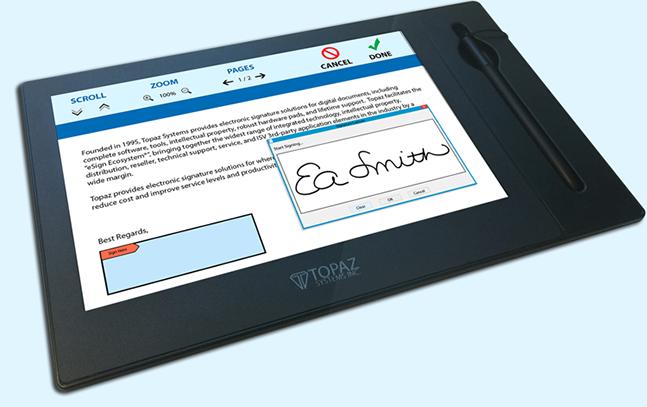 Topaz Signature Tablet Display GemView 10 | Topaz Signature